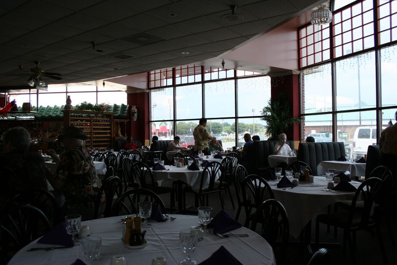 The main dining area, looking out the massive windows at... the parking lot! It's ok though, plenty of sunlight and the high ceilings give Cheng's a certain airy feeling.