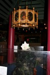 The Kahiki lamp in the center of the pagoda. Beneath is a rock waterfall completed by a Kahiki headhunter mug with lucky bamboo.