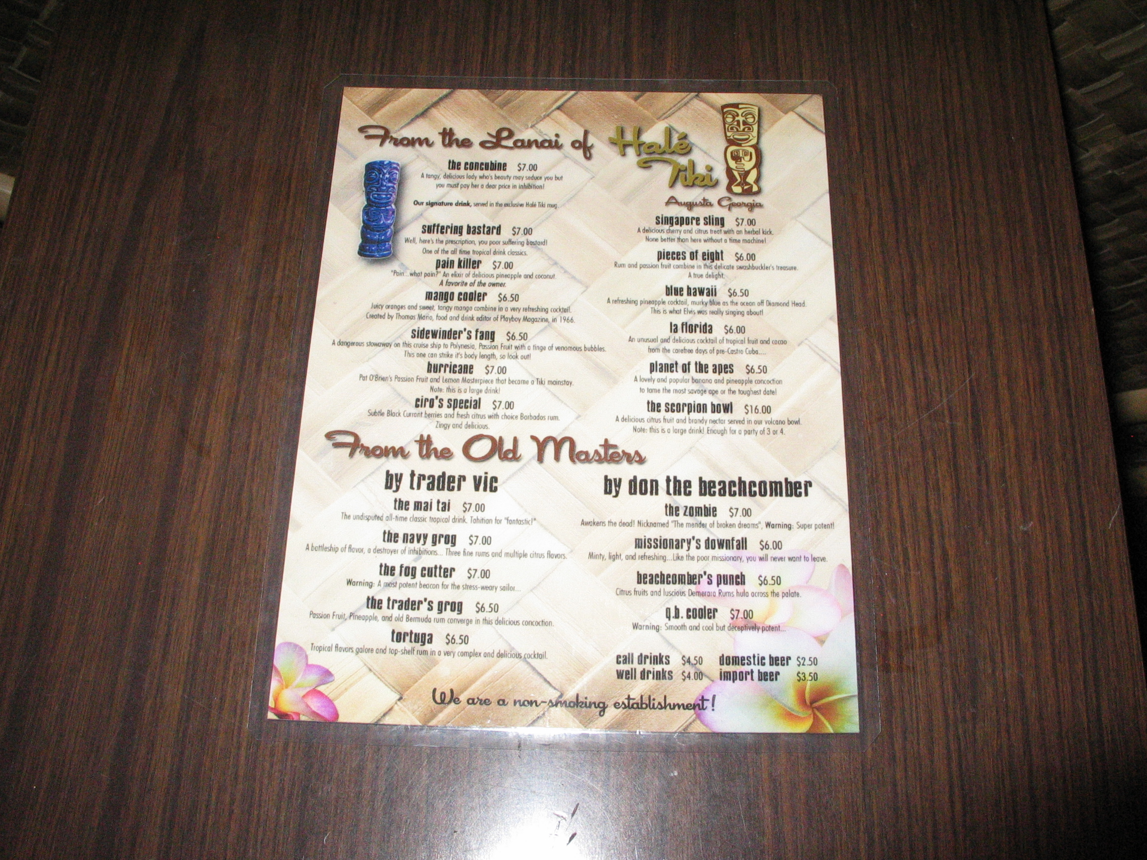 A picture of the menu.