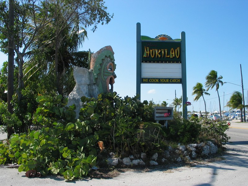 A Tiki emerges from a lush island of foliage along route 1.