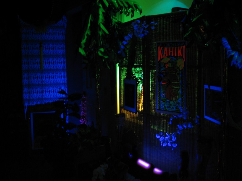 Behind this screen is a small table closer to a kitchen area for serving tasty tidbits to guests. You'll see some items from that area latter in the tour.  Throughout the Kapu Gardens, a rainforest jungle soundtrack plays, ensuring an 'outdoorsy' feeling.
