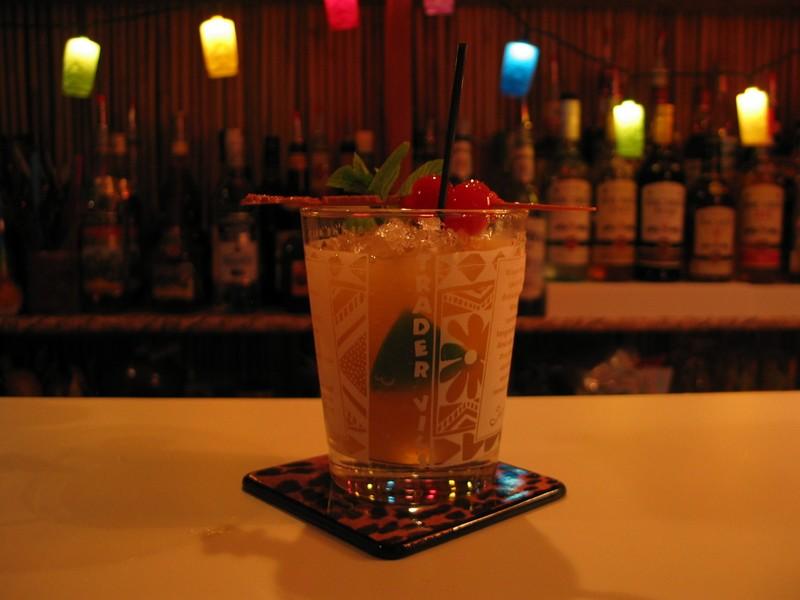 A Trader Vic's recipe Mai Tai, in the oh so classy Mai Tai 60th anniversary glass.