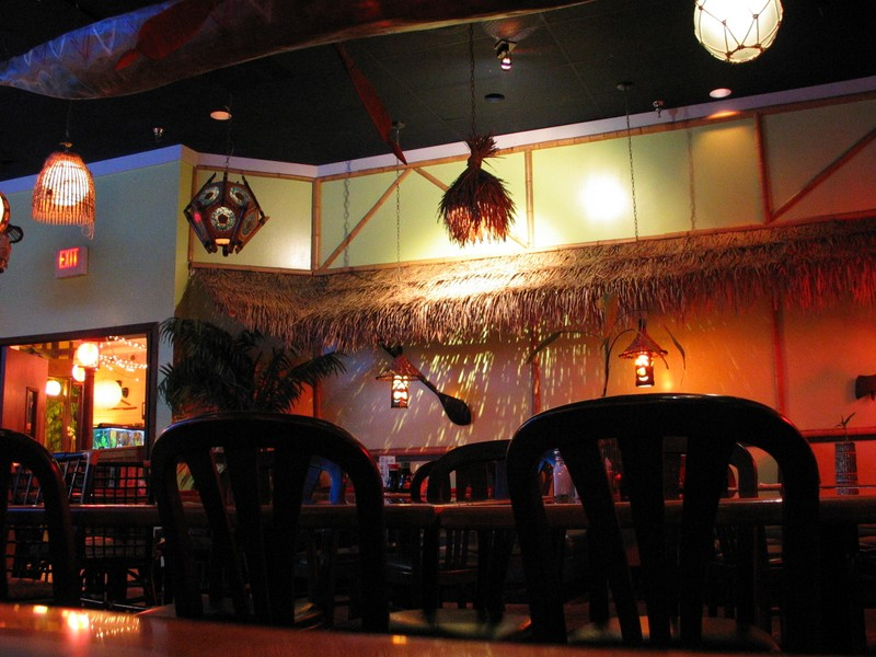 Taken from the back right, facing the back left, note the carved weapons on the wall. Also note the outrigger on the ceiling. The door to the left enters the Kobe proper.
