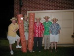 Some of the Kane with silly hats and the Tiki Poles from Honolulu.