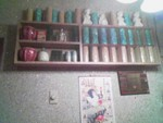 A picture taken with the crappy cell phone camera- a mug display as you first come in, mermaids, bamboo, coconuts, pineapple, etc.
