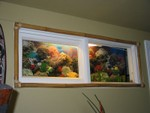 windows transformed into fake fishtanks- with flash...