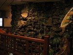 The only picture we took inside- a final remaining architectural Tiki detail, the wall fountain. Good sushi, no Tiki.