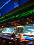 This picture gives a good feel for how the bar comes together- masks above, thatch lit bright green, fishtanks, drink signs, the bar itself, and the stools.