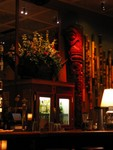 The giant Marquesan Tiki to the right of the bar.
