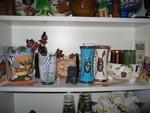My new homage to Trader Vic shelf, with many goodies from TV's in Atlanta.