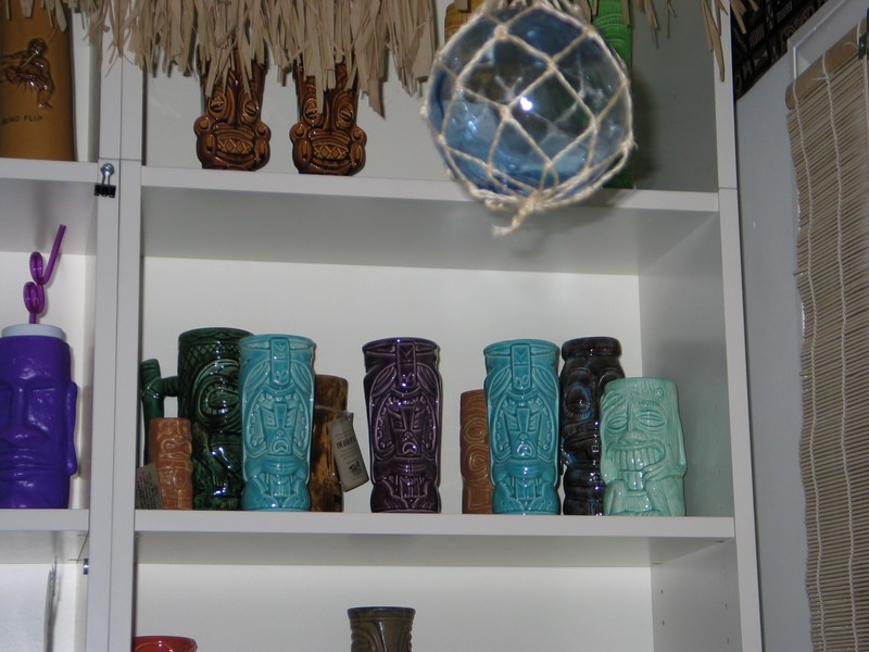 Turquoise and Purple Hukilau '04 mugs.