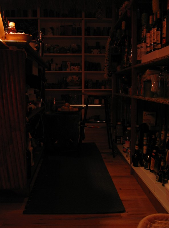 What it really looks like in context, it hides behind the bar pretty well, not too obvious from the other side.
