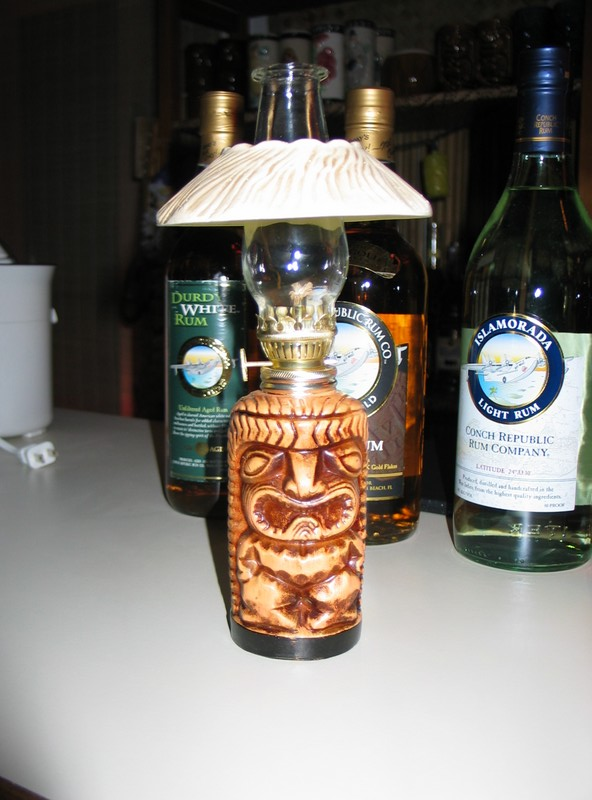 A gift from Sam and Robert- a tabletop Tiki lamp! Most excellent!